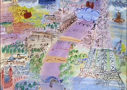 "Raoul Dufy, ""Paris et la tour Eiffel"", 1936, gouache et aquarelle sur papier, 65 x 50,2 cm, collection privée © MAP, Photo : Mathieu Bernard-Reymond"
